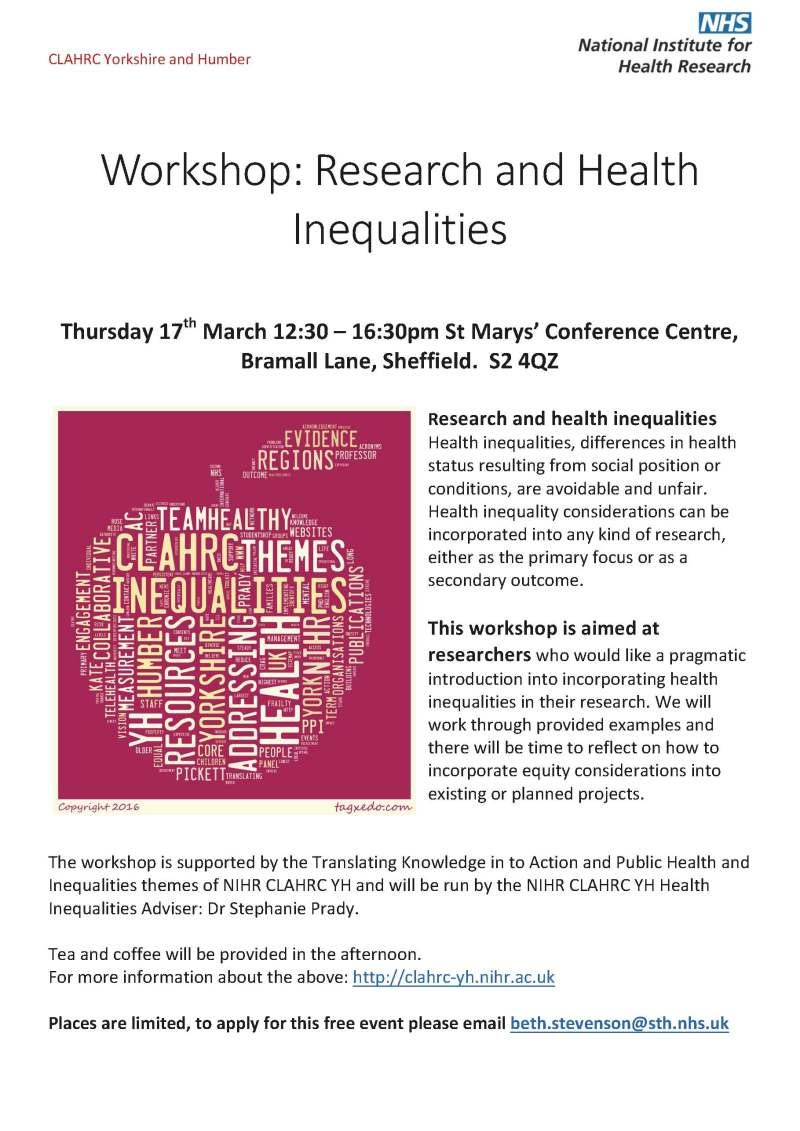 NIHR CLAHRC YH Workshop health Inequalities 17032016